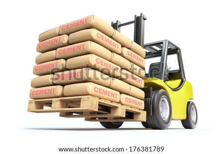 Forklift with cement sacks - stock photo