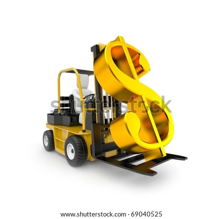 Forklift with dollar