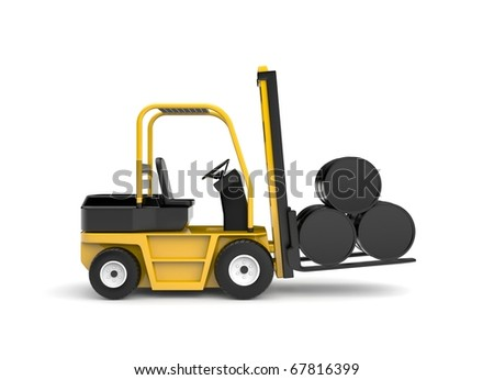 Forklift with oil barrels