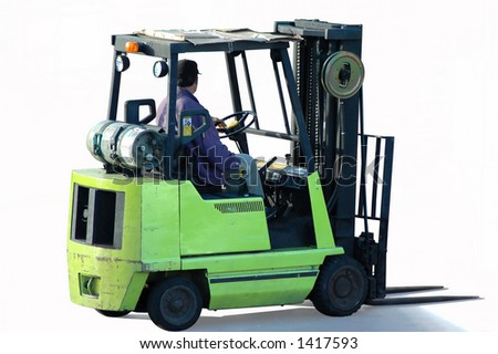 Forklift with operator - stock photo
