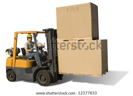 Forklift with operator isolated on a white background with clipping path - stock photo