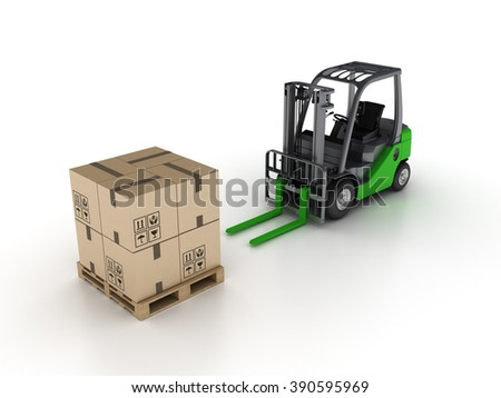 Forklift with Pallet and Cardboard Boxes on White Background - High Quality 3D Render   - stock photo