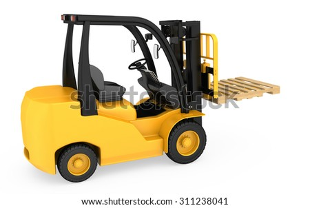 Forklift with raised wooden pallets on a fork.