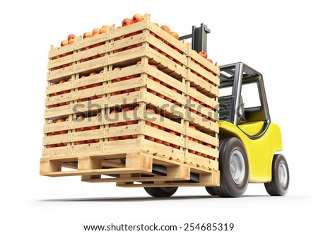 Forklift with red apples in wooden crates - stock photo