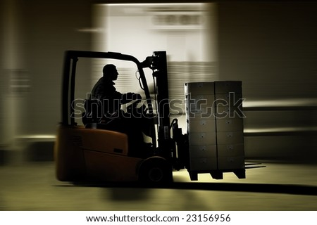 forklifter - stock photo