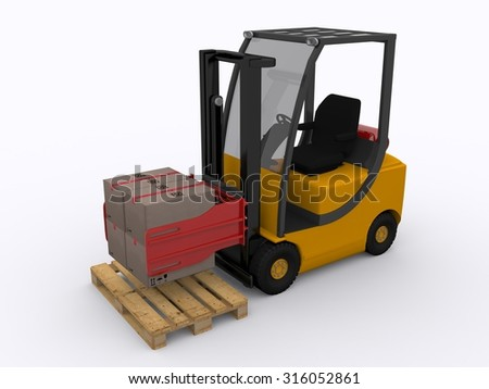 forklifter wiht clamp - stock photo