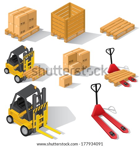 Forklifts with pallets and boxes - stock photo