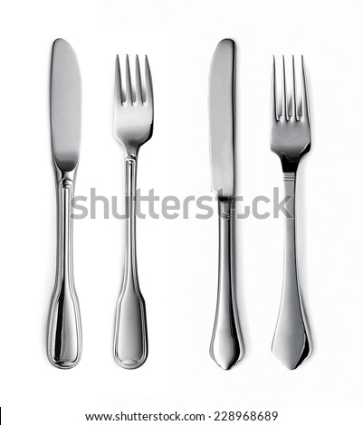 Forks and knifes isolated - stock photo
