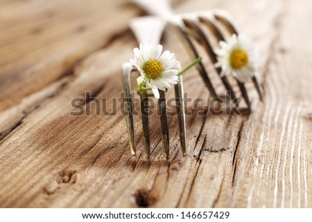 forks and wooden table  - stock photo