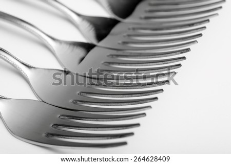 Forks closeup. Black and white.