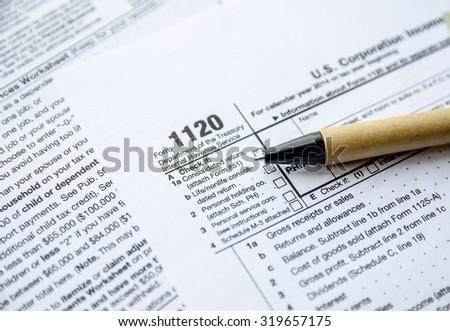 Form 1120 Corporate Tax Return - stock photo