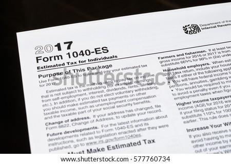 Form 1040 Es Estimated Tax Individuals United Stock Photo 100