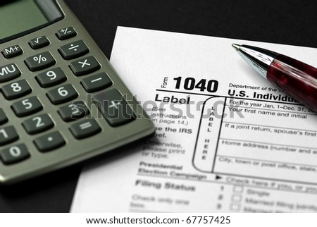Form 1040 Federal Income Tax Return - stock photo