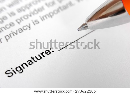 Form for signature with pen. Selective focus image - stock photo