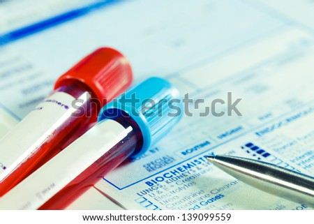 Form to fill in the results of  biochemistry blood tests - stock photo