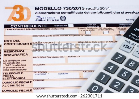 Form to fill Italian called  730/2015 for the tax return of 2014