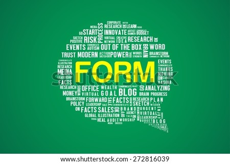 FORM word on speech bubble in green background
