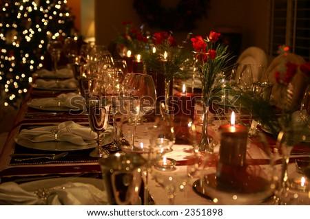 Formal Christmas Dinner - stock photo