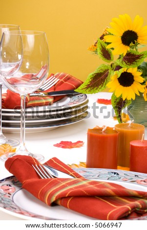 Formal fall festive theme dinner table arrangement