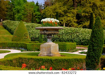 Formal garden in an English Stately Home - stock photo