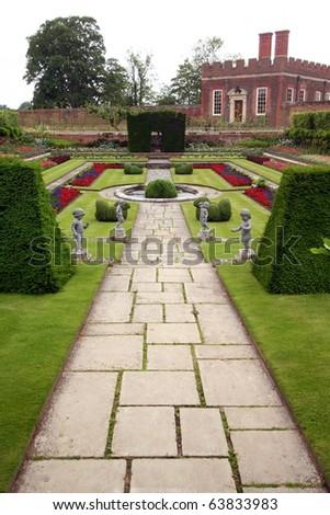 Formal Gardens, Hampton Court Palace, London, England - stock photo