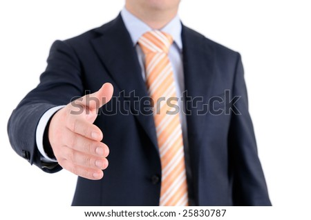 Formal handshake with focus on (male) hand. - stock photo