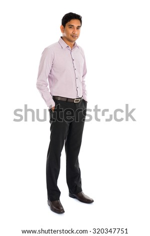 formal indian business man with white background - stock photo