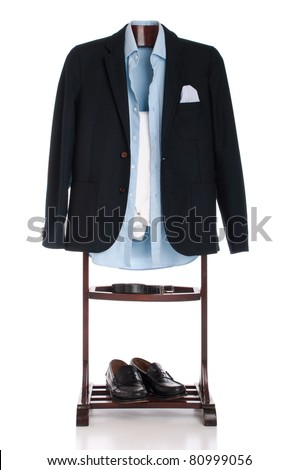 formal man dressing for a celebration, event, job interview or wedding on a wooden hanger (shirt, jacket, trousers, belt and shoes) isolated on white background - stock photo