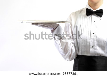 Formal server with silver tray