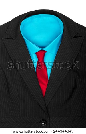 Formal suit: black jacket blue shirt and red tie - stock photo