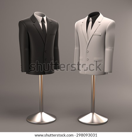 formal suits on shop mannequins  - stock photo