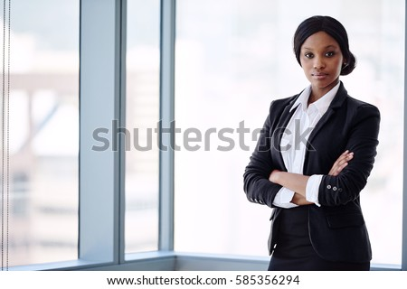 Formally Dressed African Business Woman Looking Stockfoto