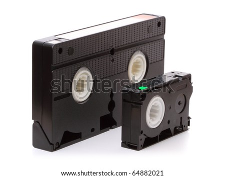 Format VHS. Household standard video released in 1976, better known as VHS (Video Home Standart) is the standard for VCRs. Isolated on white  background - stock photo
