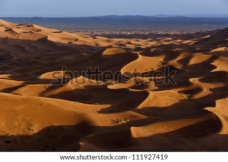 Formation of the sand in the desert