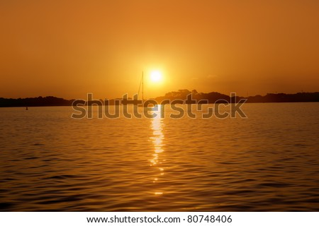 Formentera balearic island sunrise at sea view from Illetas Balearics Spain - stock photo