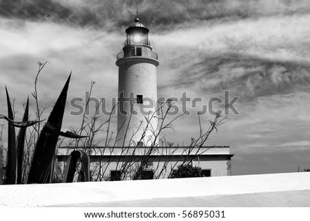 Formentera La Mola lighthouse balearic islands mediterranean Sea - stock photo