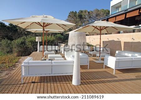 FORMENTERA SPAIN-JULY 31, 2014: Renovated Cala Saona luxury hotel on July 31, 2014 in Formentera island Balearic islands Spain. The best hotel on the island frontline sea. - stock photo
