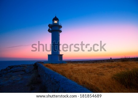 Formentera sunset in Barbaria cape lighthouse at Balearic Mediterranean islands