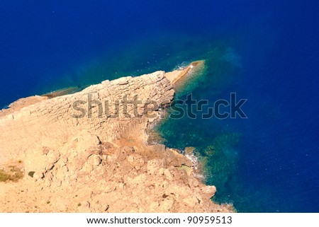 Formentor cape to Pollensa high aerial sea view in Mallorca balearic islands - stock photo