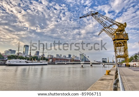 Former docks on Puerto Madero area at Buenos Aires, Argentina - stock photo