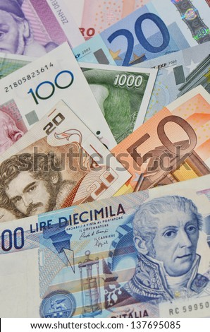 former european currencies and Euro