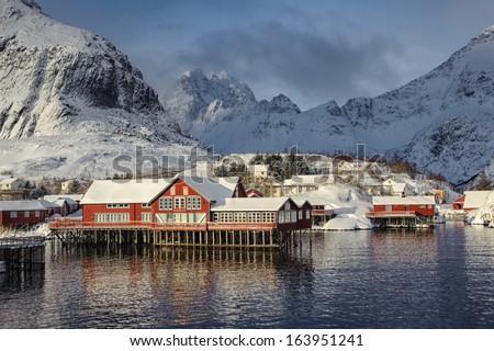 Former fishing village A on Lofoten islands - stock photo