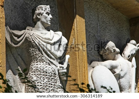 Former Kings carved in stone - stock photo