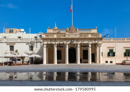 Former Main Guard building situated in St George's square facing the Grand Masters Palace in Valletta, Malta - stock photo