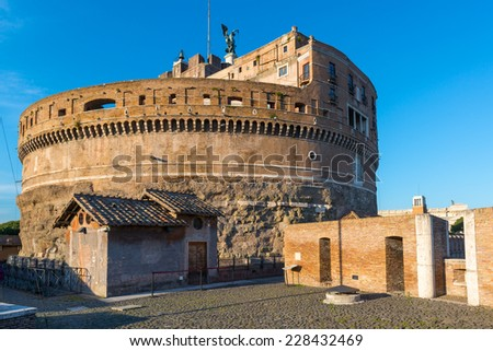 Former mausoleum of Emperor Hadrian in the Castel Sant`Angelo in Rome, Italy - stock photo