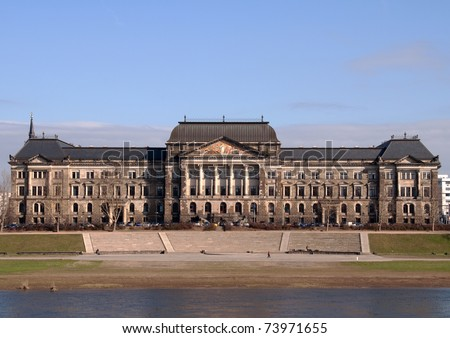 Former university of technology in the city of Dresden in Germany - stock photo