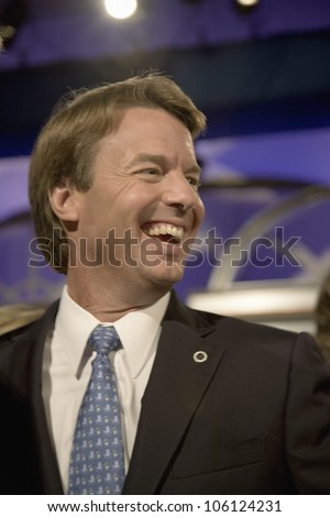 Former US Senator and Presidential Candidate John Edwards smiling at Iowa Democratic Presidential Debate, Drake University, Des Moines, Iowa, August 19, 2007 - stock photo