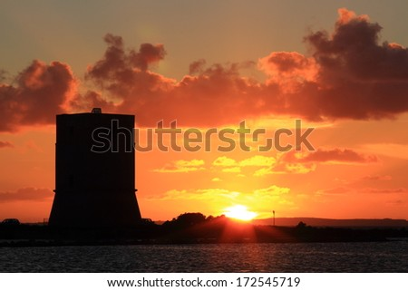 Former Watchtower of salt trapani sicily - stock photo
