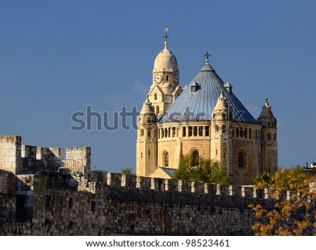 Formerly known as Abbey of the Dormition, Hagia Maria Sion Abbey was finished in 1910 on land purchased by  Kaiser Wilhelm II. - stock photo