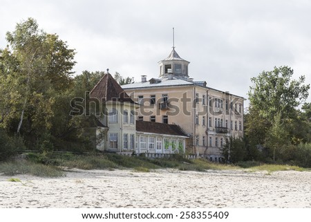 Formerly magnificent bathing establishments and hotels can be found on the Baltic Sea beach of Jurmala, not far from Riga - stock photo